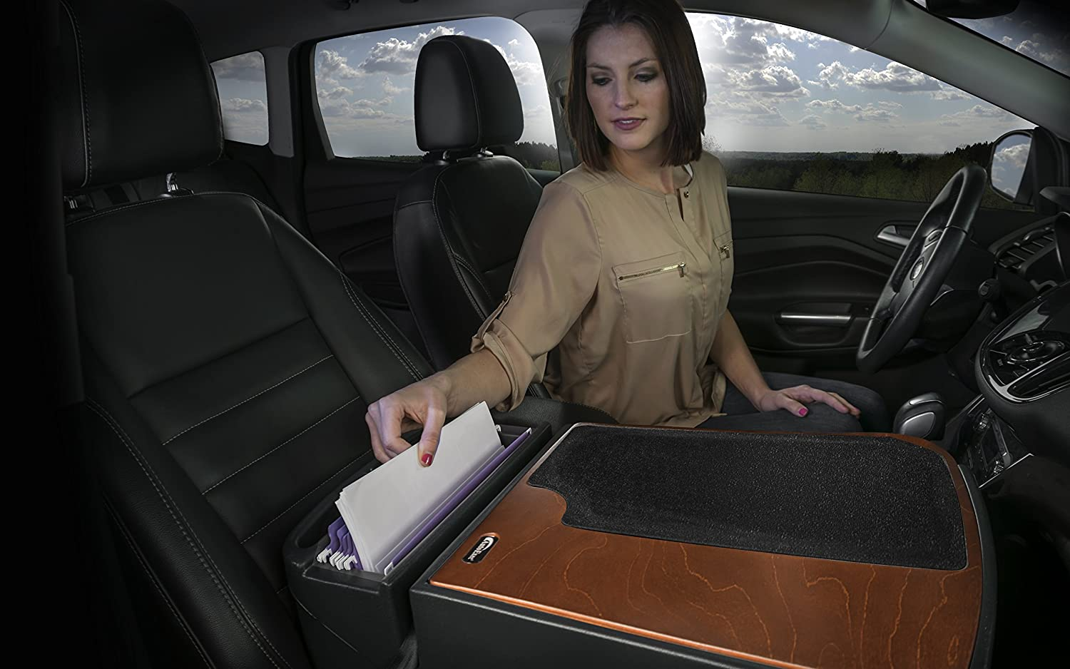 AutoExec AUE00667 Efficiency GripMaster Car Desk Birch Elite with Built-in Power Inverter