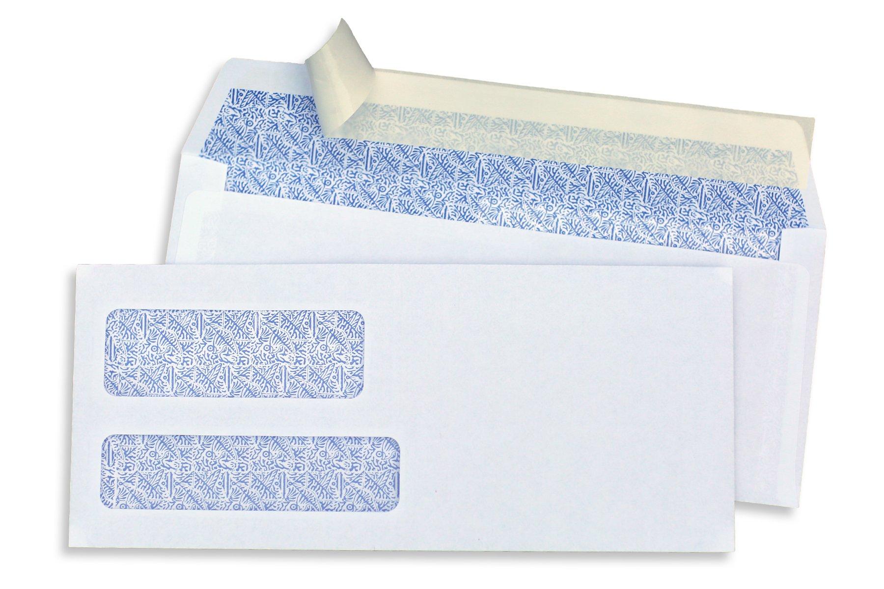 SendIt #9 Double Window Envelopes, PEEL & SEAL, White, Blue Birdseye Security Pattern, 500 ct