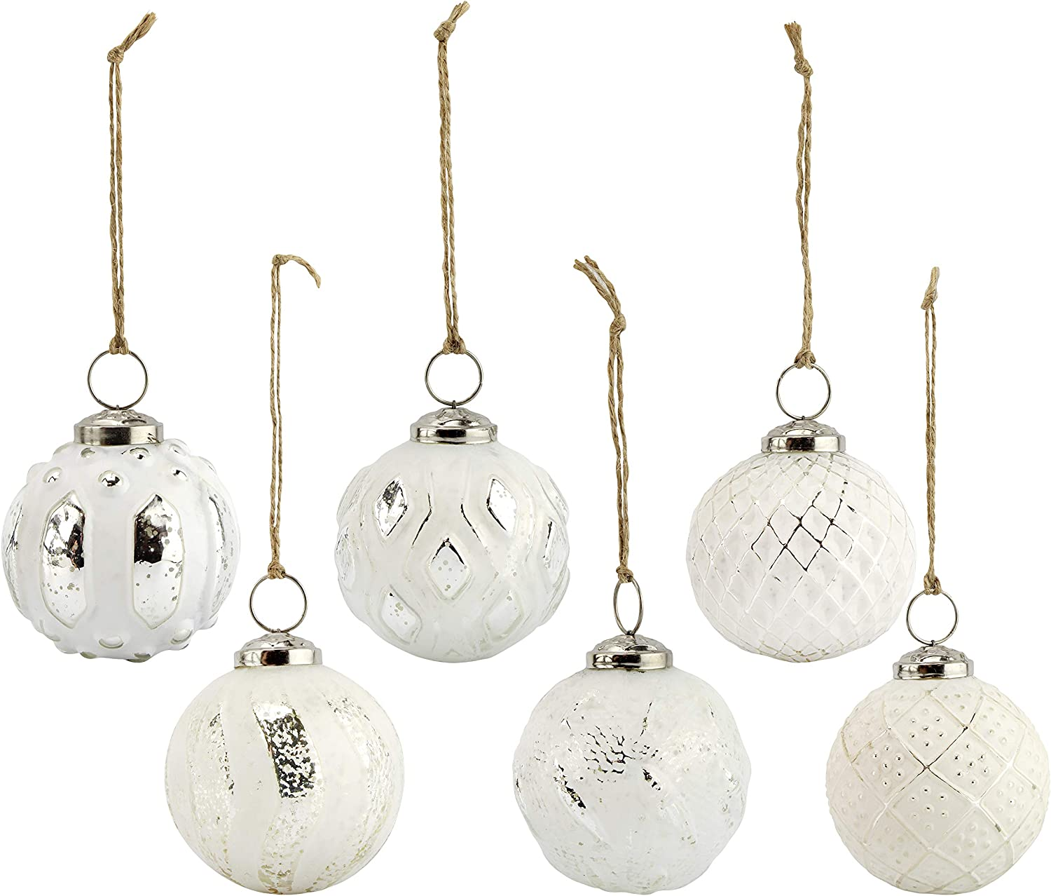 AuldHome Farmhouse Ball Ornaments (Set of 6, White); Distressed Metal Glass Ball Vintage Style Christmas Decorations