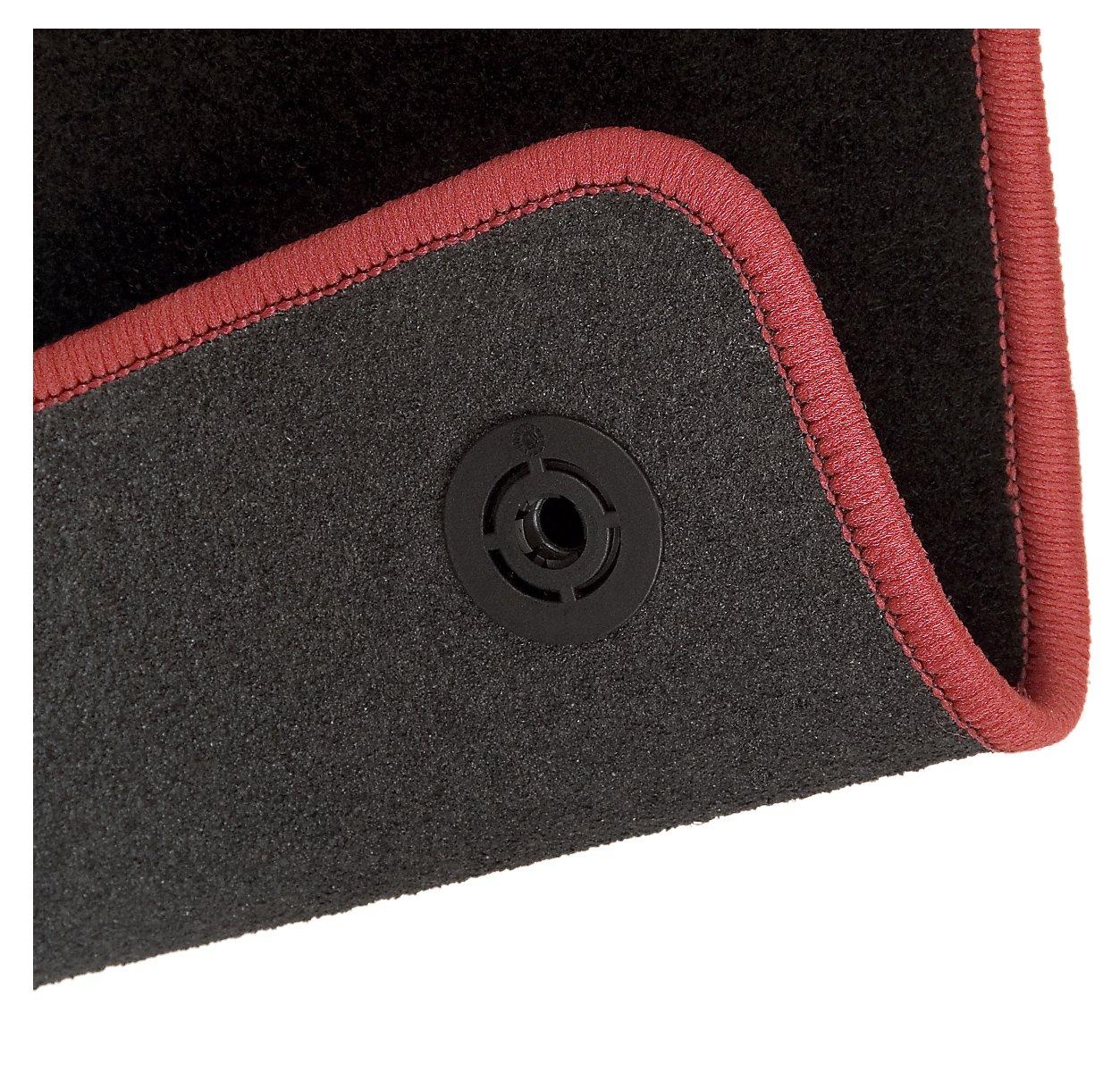 CarFashion 227781 Alfombrillas para Coche Reforzadas Color Negro//Rojo