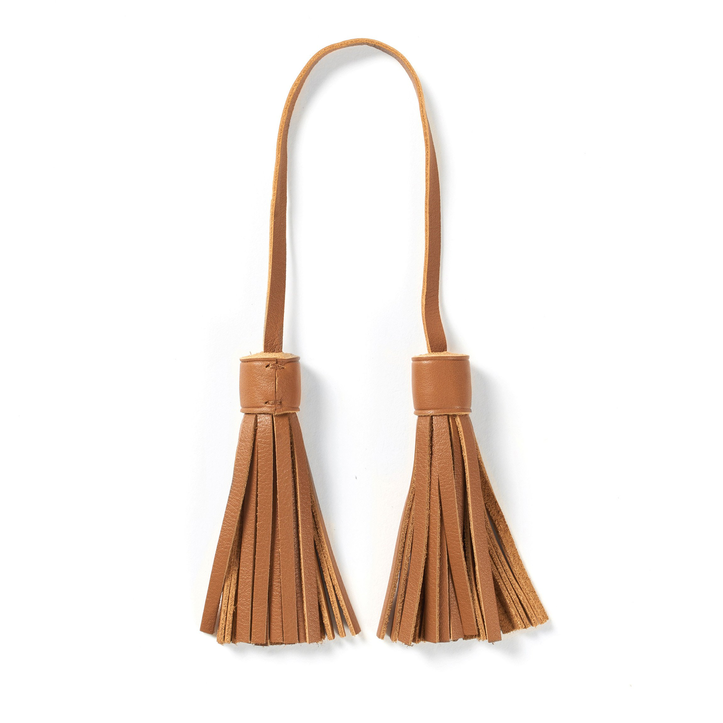 Tassel Bag Tag - Full Grain Leather - Cognac (brown)