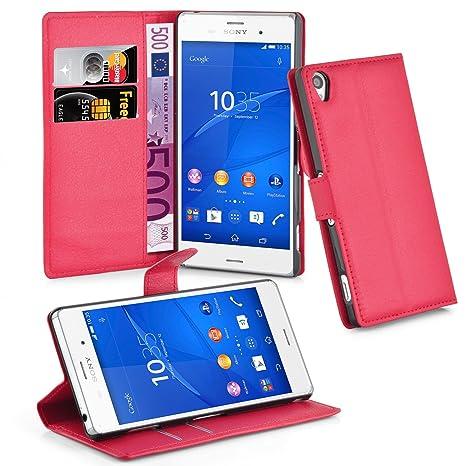 Cadorabo Carcasa para Sony Xperia Z3 Funda en Color Rojo carmín Funda con Tarjetero y función Atril Case Cover Carcasa Funda Book Style Carmín de ...