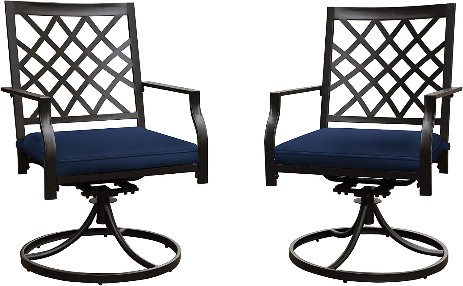 LOKATSE HOME Patio Swivel Rocker Furniture Metal Outdoor Dining Chairs with Cushion Set of 2, 2 Blue