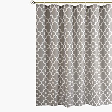 Biscaynebay Printed Shower Curtains, Morocco Pearl Textured Fabric Bathroom Curtains Silver Grey 72 X72