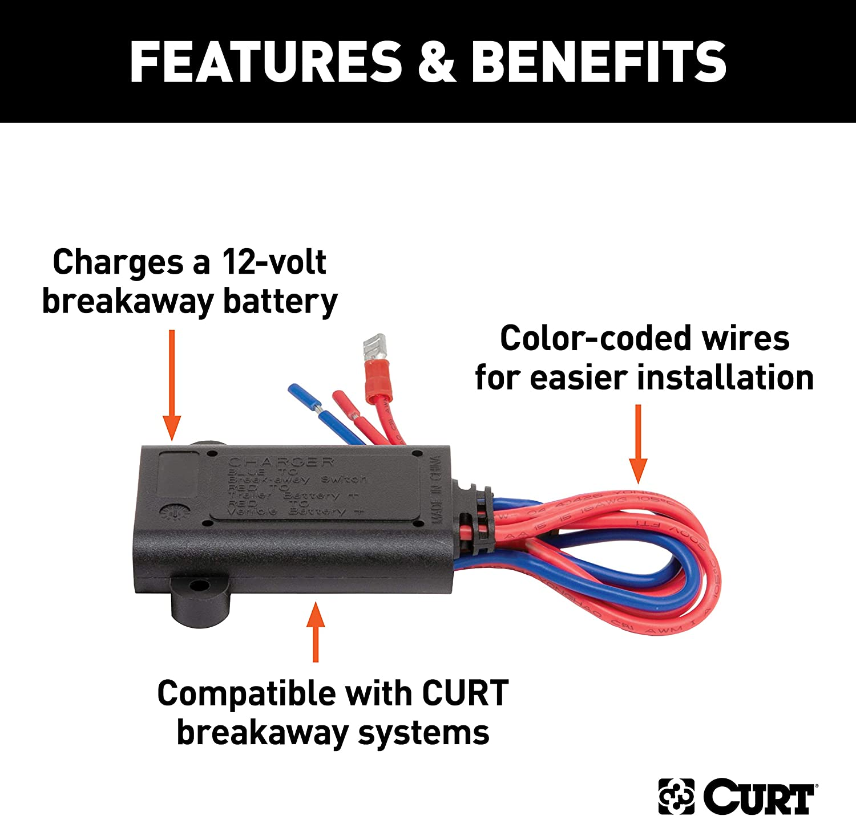 CURT 52025 Trailer Breakaway Battery Charger
