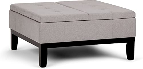 SIMPLIHOME Dover 36 inch Wide Square Coffee Table Lift Top Storage Ottoman