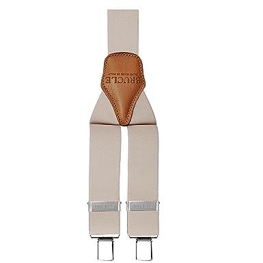 Scoprire acquista lusso confrontare il prezzo BRUCLE bretelle uomo elastiche regolabili con dorsale in cuoio, forma a Y,  fissaggio a clip