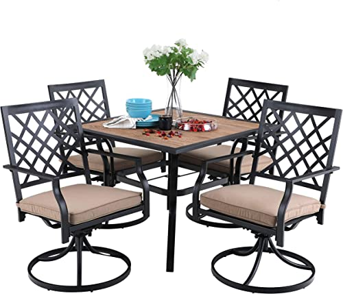 PHI VILLA Patio Dining Set 5 Pieces 1 Wood Like Square Garden Umbrella Table and 4 Swivel Chairs Support 300 lb