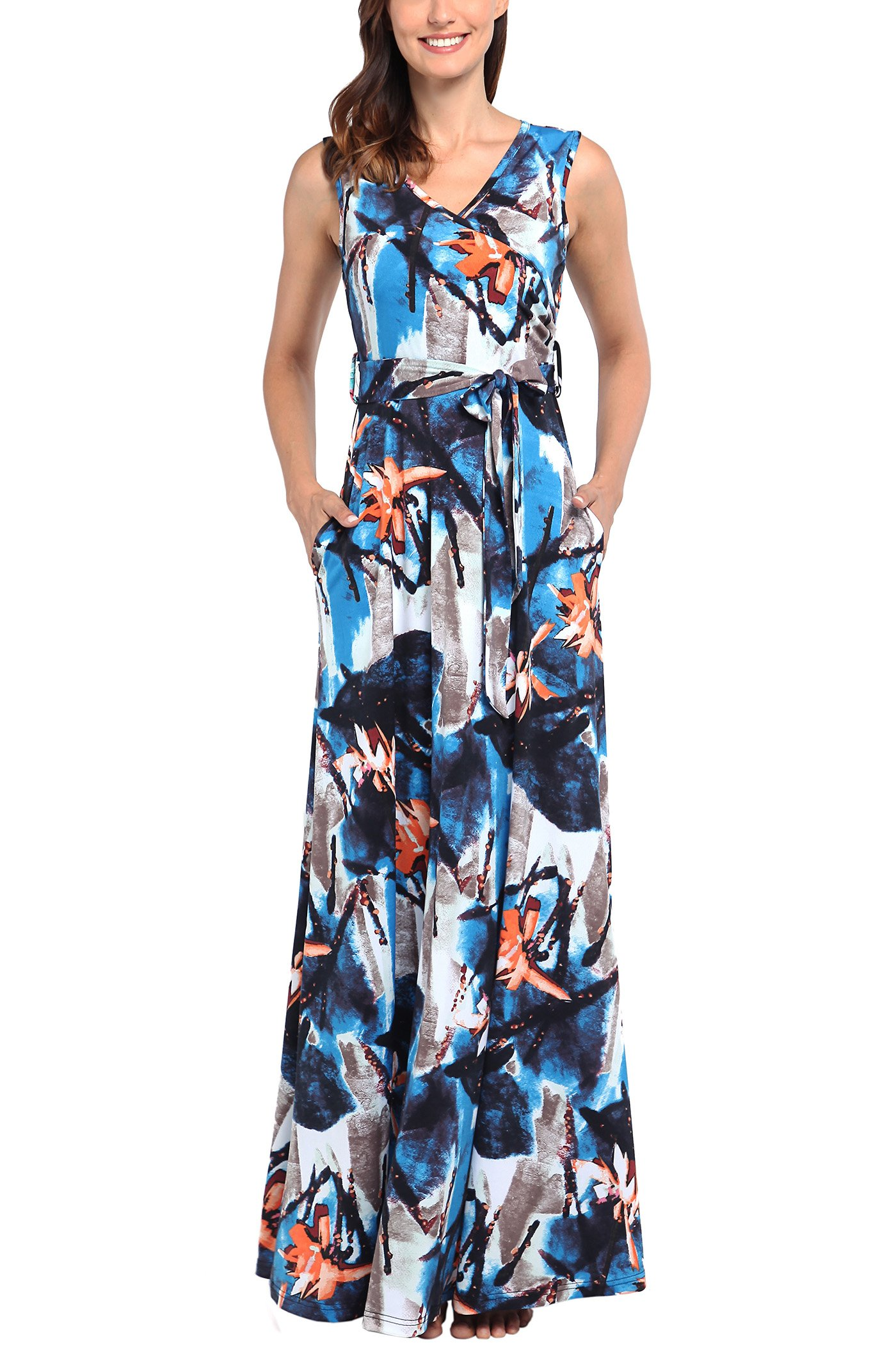 Comila Casual Summer Dresses for Women, Retro Floral Printed Loose Tank Maxi Dresses Elegant Sleeveless Evening Dress Sexy Warp V Neck Bohemain Style Casual Dress with Pockets Blue XL(US16-18)