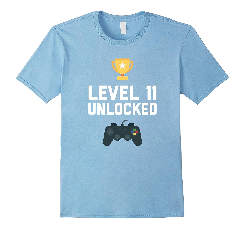 11th Birthday Shirt Gift 11 Year Old Level Up Gamer Tshirt-T-Shirt
