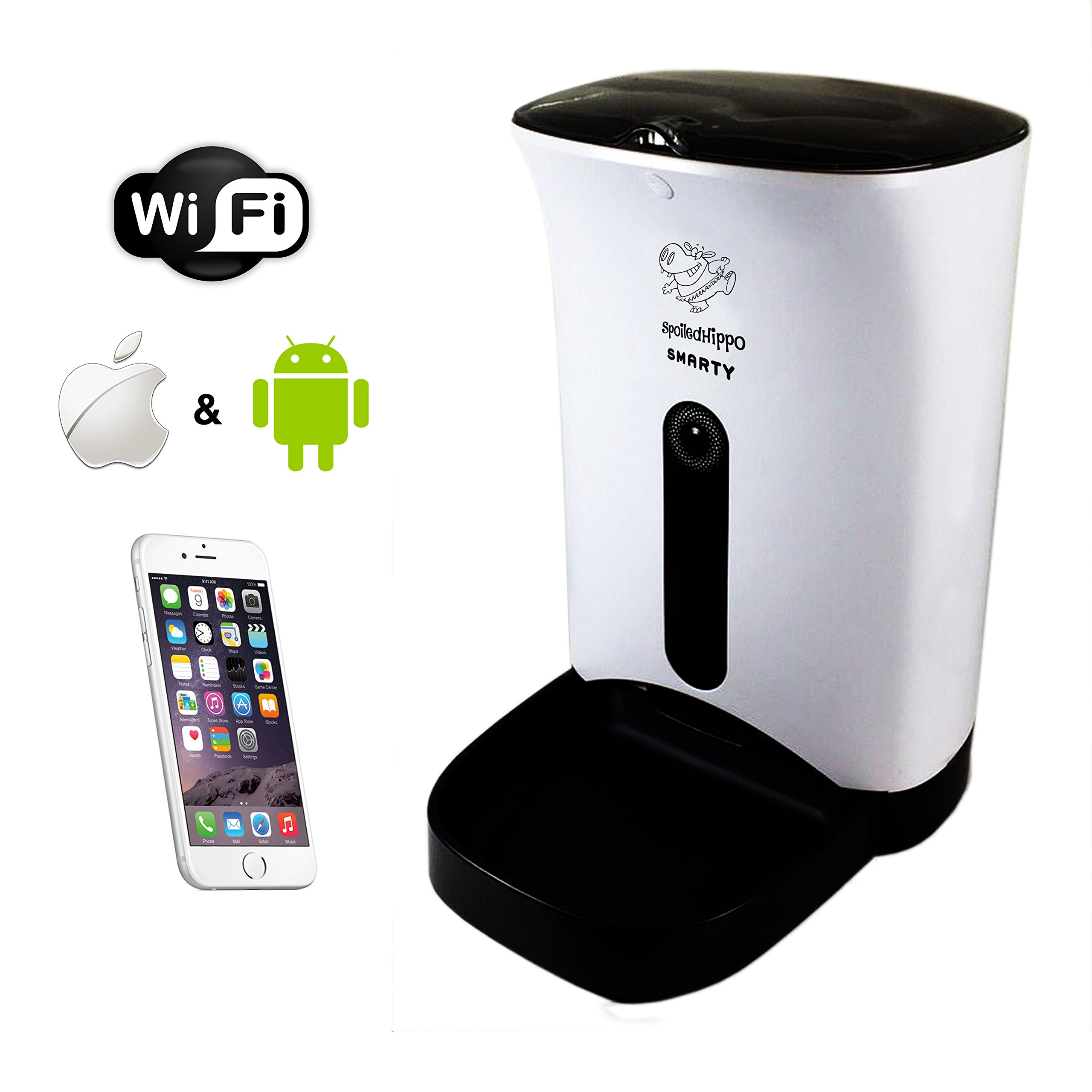 Automatic Pet Feeder - Automated Feeding Robot - Smartphone, Iphone, Android, WiFi - Good for Small, Medium Dogs, Cats, Ferrets - Dry Food - with Built in HD Camera and Microphone