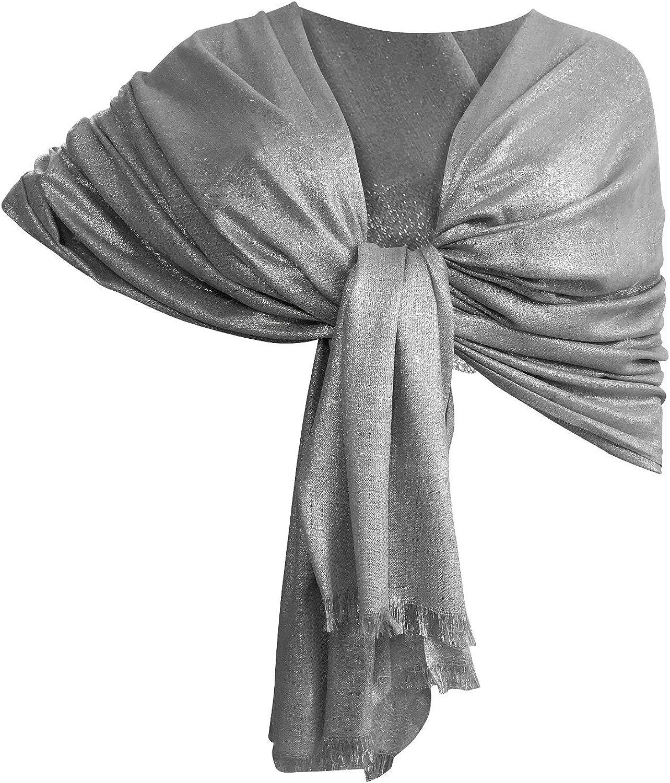 LTP Brillante Elegante Maxi SCIARPA Filo Oro o Argento Scialle Foulard,da Donna Ragazza Coprispalle Stola Cerimonia 14 Colori