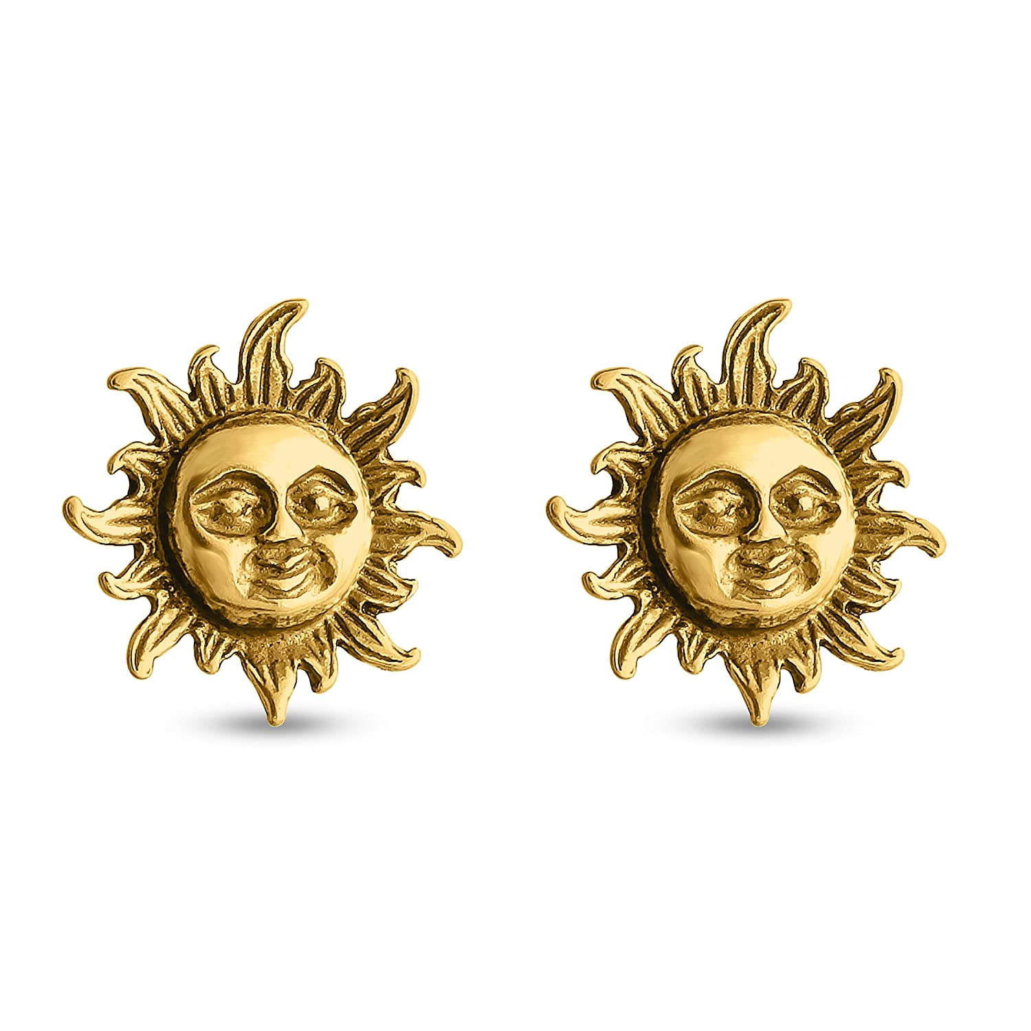 Azaggi Stud Smiling Sun Stud Earrings 925 Sterling Silver Earrings Gold Plated Earrings.These Stud Earrings are the perfect jewelry gift for women