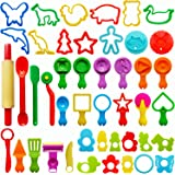 Play Dough Tools for Kids, Various Plastic Moulds, Assorted Colors, 45 Pieces