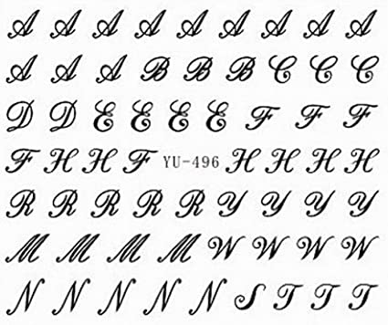 Letter Alphabet Nail Art Stickers Water Transfer Decals Decorations
