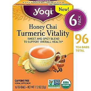 Yogi Tea - Honey Chai Turmeric Vitality - Sweet and Spicy Blend - 6 Pack, 96 Tea Bags Total