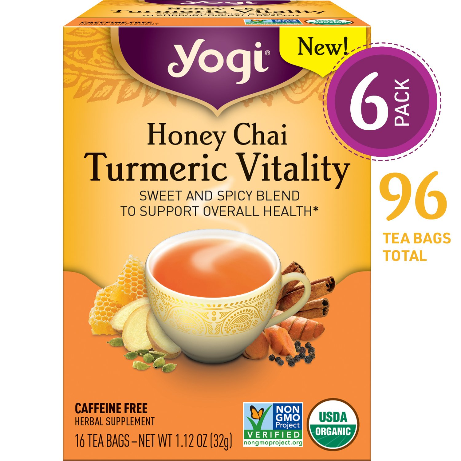 Yogi Tea - Honey Chai Turmeric Vitality - Sweet and Spicy Blend - 6 Pack, 96 Tea Bags Total