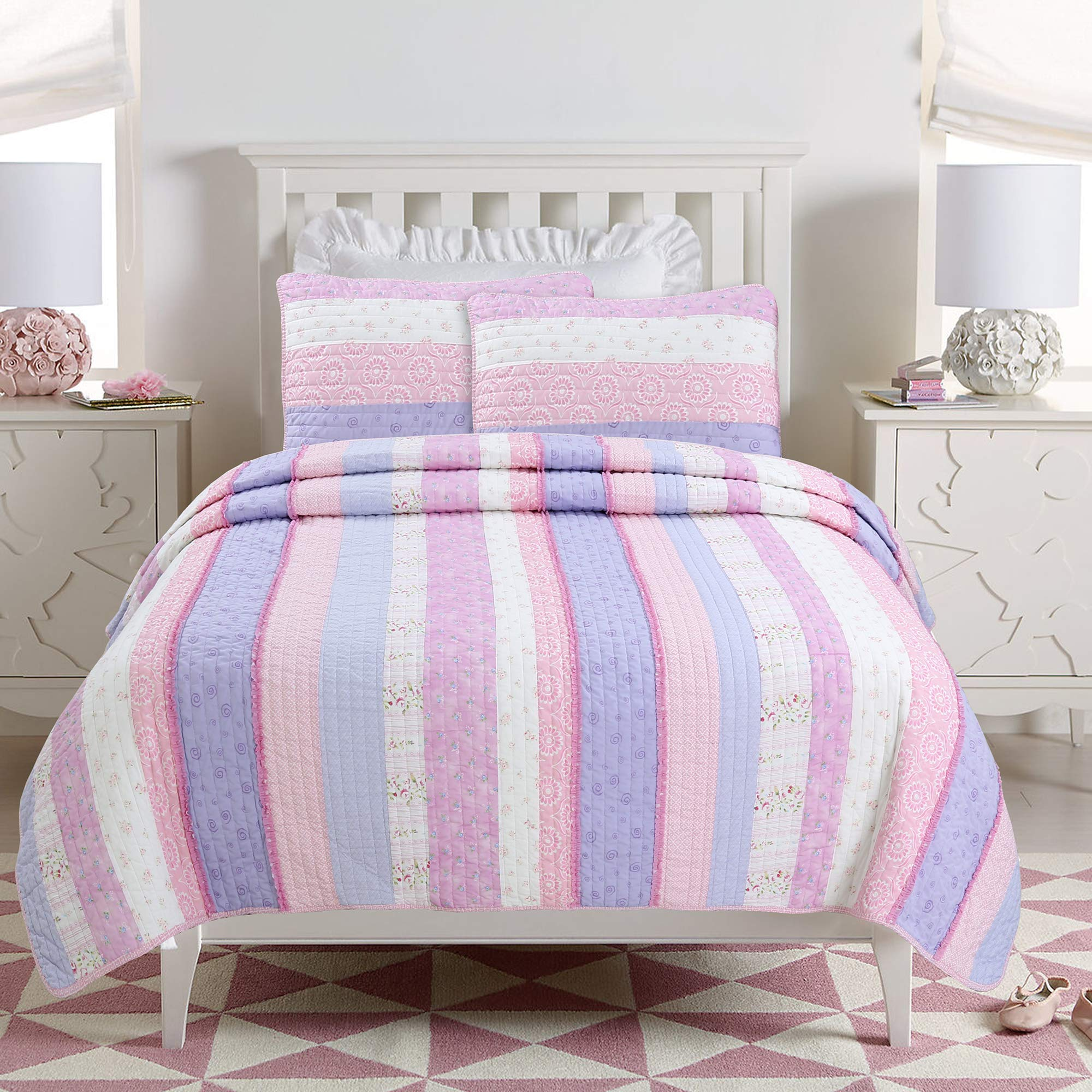 Cozy Line Home Fashions Eden Pink Lilac White Romantic Lace Floral Flower Pattern Print Striped 100% Cotton Bedding Quilt Set Reversible Coverlet Bedspread for Girl (Lilac Stripe, Full/Queen -3 piece)