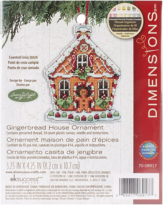 Dimensions Counted Cross Stitch Gingerbread House Christmas Ornament Kit 3.5 W x 4.5 H