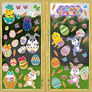 Easter Decorations Window Clings, 57PCS Easter Bunny Stickers for Party Supplies Home Decorations Removable PVC Stickers – 4 Large Sheets