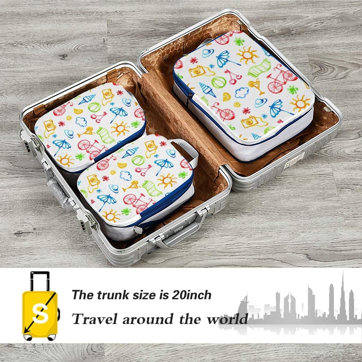 r Camera Bike Ice Cream 3 Set Packing Cubes,2 Various Sizes Travel Luggage Packing Organizers