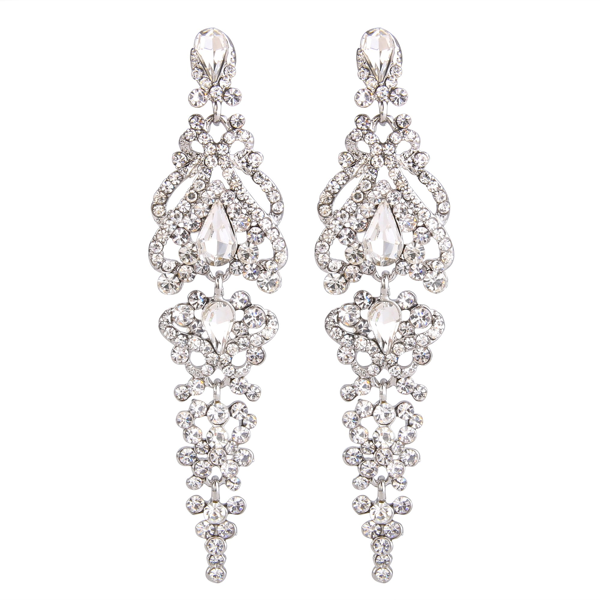 BriLove Silver-Tone Dangle Earrings for Women Wedding Bridal Crystal Cluster Teardrop Earrings Clear