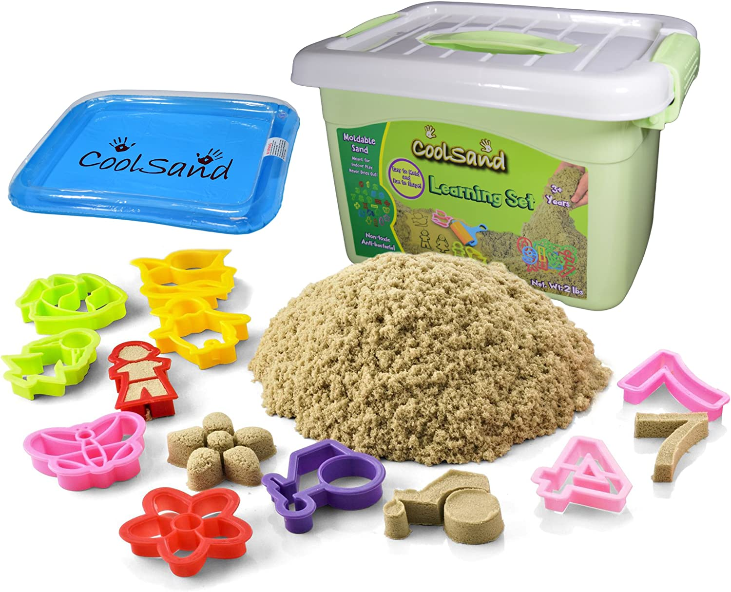 CoolSand Deluxe Bucket Shaping Molds Set Includes: 2 Pounds Moldable Indoor Play Sand Learning Edition Inflatable Sandbox /& Storage Bucket Natural CKMS20