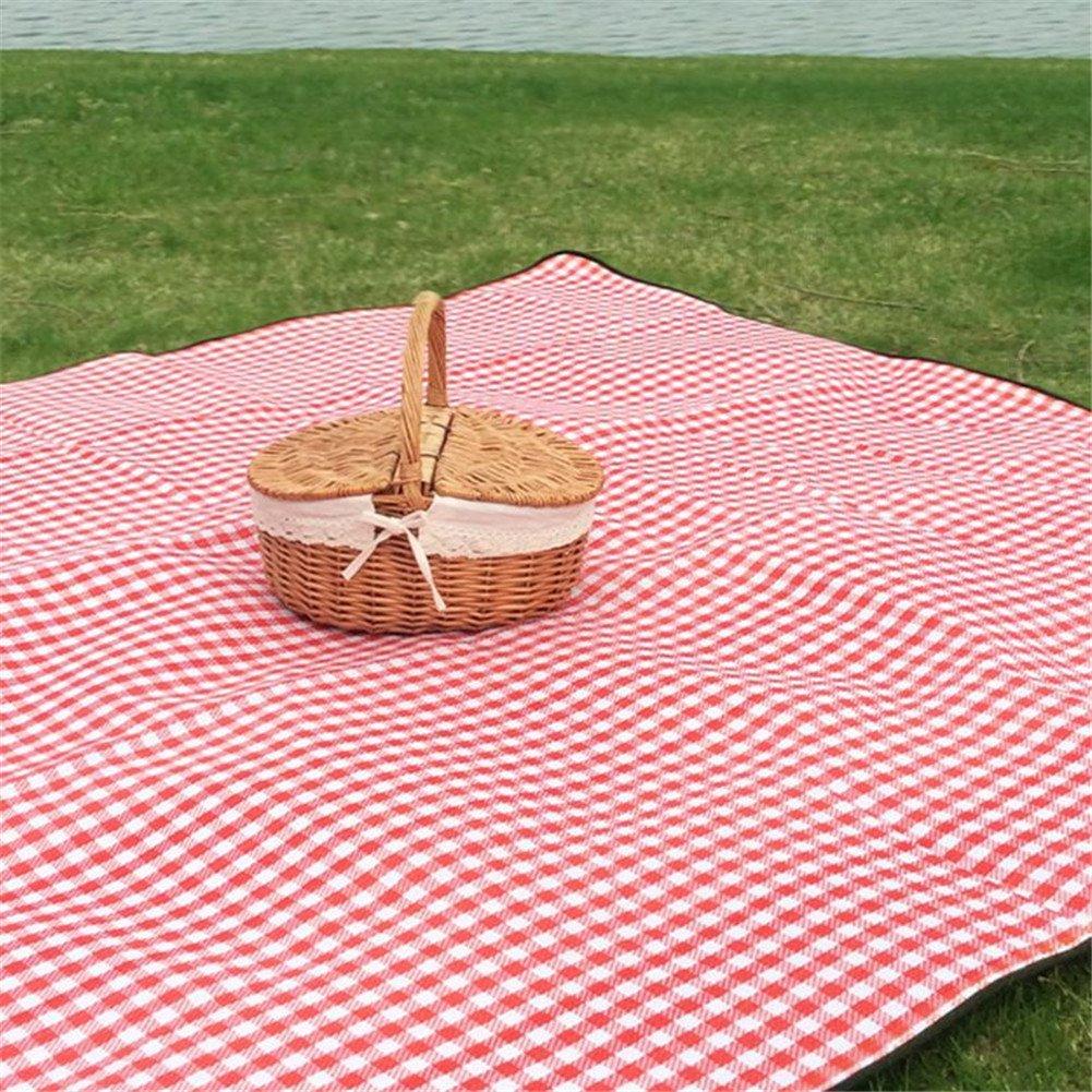L, Braun handgemachte Korb Picknick-Korb Einkaufskorb Oval doppelte Deckel geflochtene Leinen Blumen Picknick-Picknick-Ablagekorb mit Deckel und Griff f/ür Urlaubsreisen Camping Verwendung Home Decor Waroomss Picknick-Ablagekorb