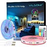 LED Strip Lights, ViLSOM 20ft USB RGB Led Light Strip Kit with Remote, SMD 5050 LED Color Changing Rope Lights for 40…