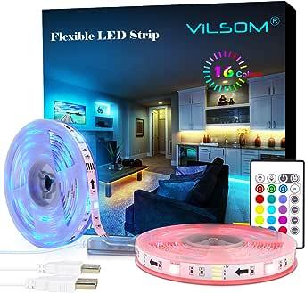 ViLSOM Led Strip Lights, 20 Feet USB Led Light Strip Kit with Remote, RGB 5050 Color Changing Led Lights for Tv Backlight, Bedroom, Room, Home Decorations, 2 Rolls of 10 Feet