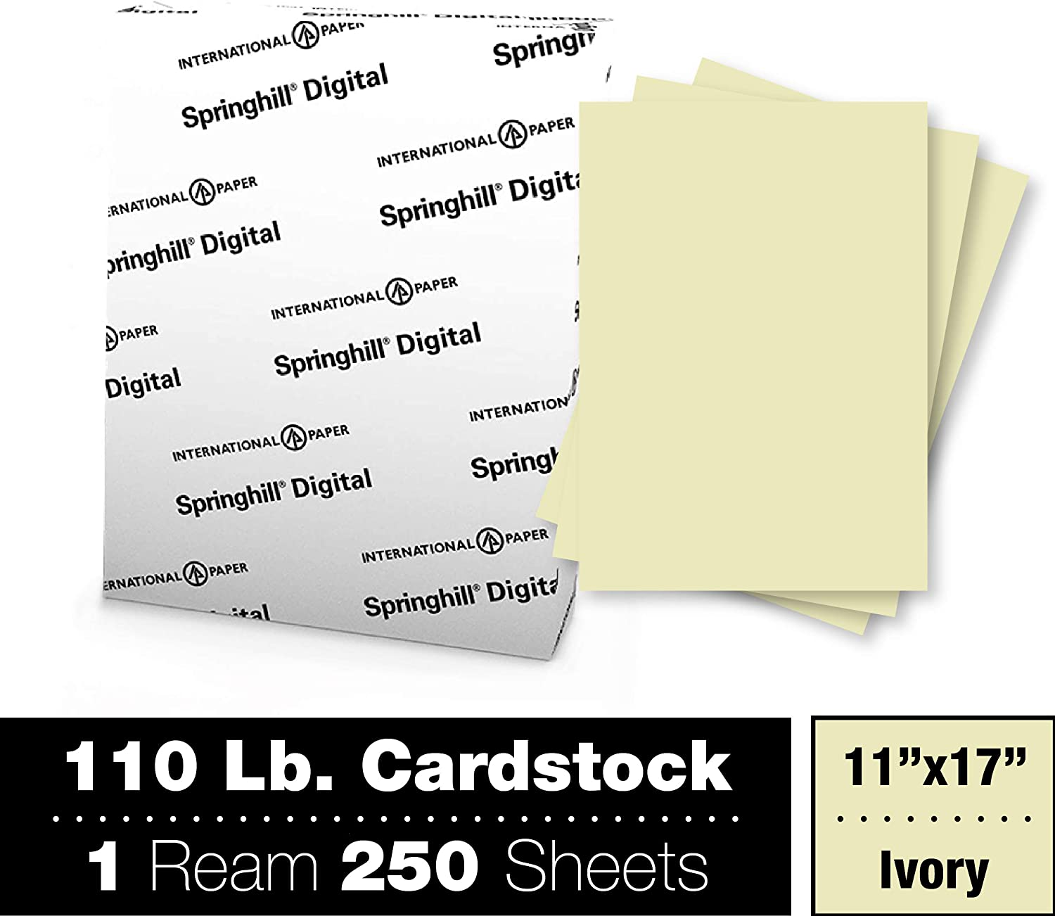 11 x 17 Springhill Digital Index White Card Stock SGH015110 250 Sheets//Pack