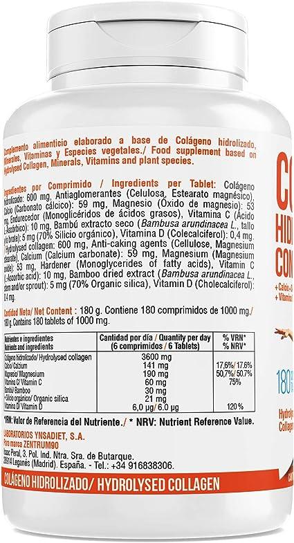 Colágeno hidrolizado con calcio para huesos y articulaciones – Colágeno con vitamina C y vitamina D para ayudar a la energía del día a día (180): Amazon.es: Salud y cuidado personal