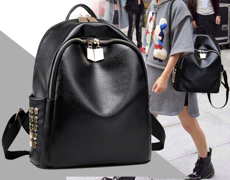 shoulder bag rivets shoulder bag simple multicolor backpack small bag,black by Toping Fine basic-multipurpose-backpacks (Image #2)