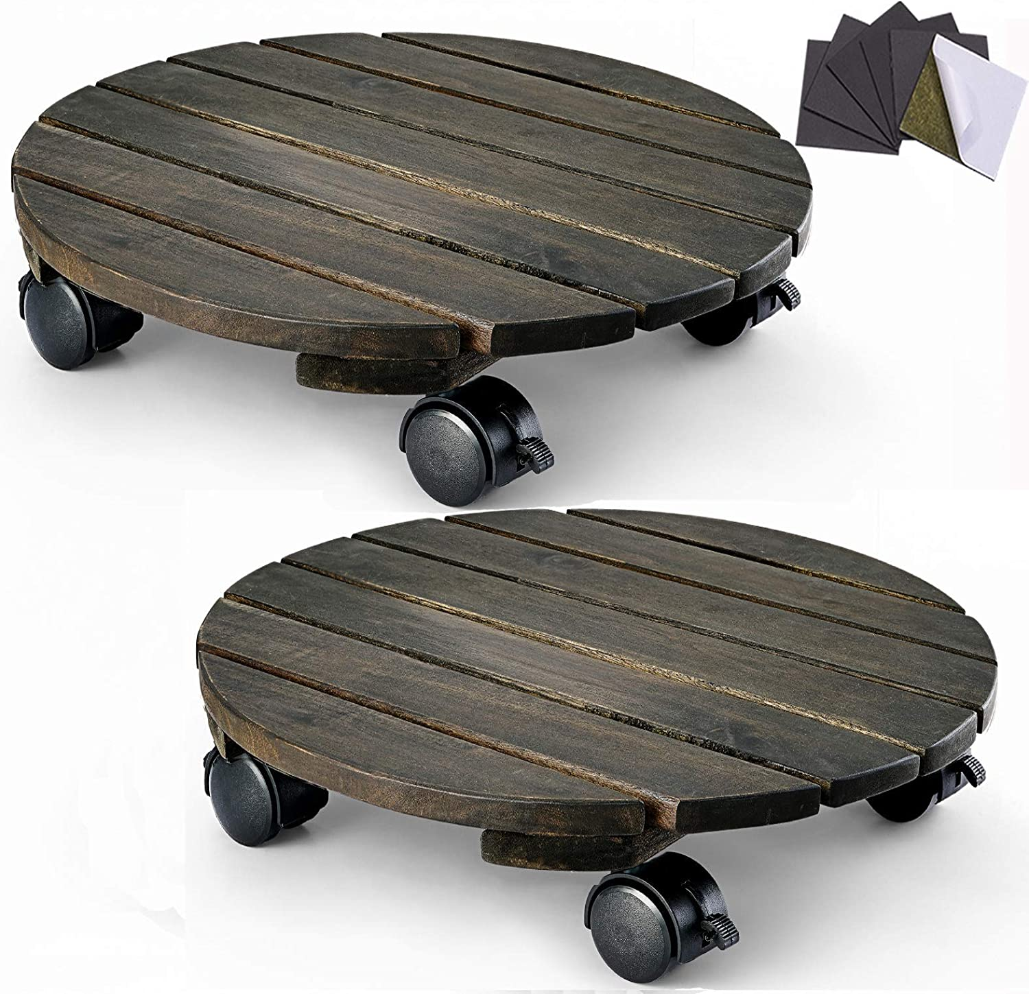 Renewed Set of 2 Plant Dolly Heavy Duty 12 inches Round Planter Trolley with Lockable Casters Walnut Color Indoor Outdoor Rolling Tray Coaster Flower Pot Mover Pot Dolly LITADA Acacia Wood Plant Caddy