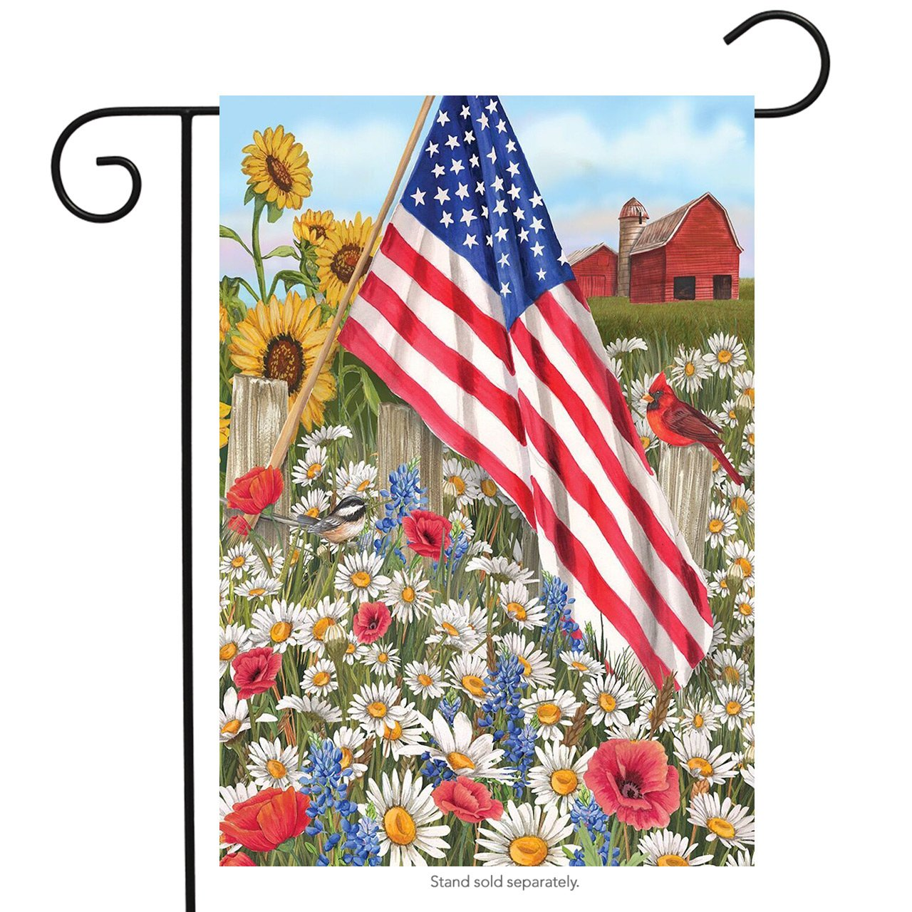 "Briarwood Lane America The Beautiful Summer Garden Flag Patriotic Floral 12.5"" x 18"""