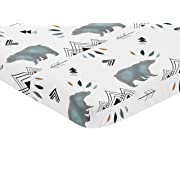 Sweet Jojo Designs Blue White Watercolor Baby Fitted Mini Portable Crib Sheet Bear Mountain Collection