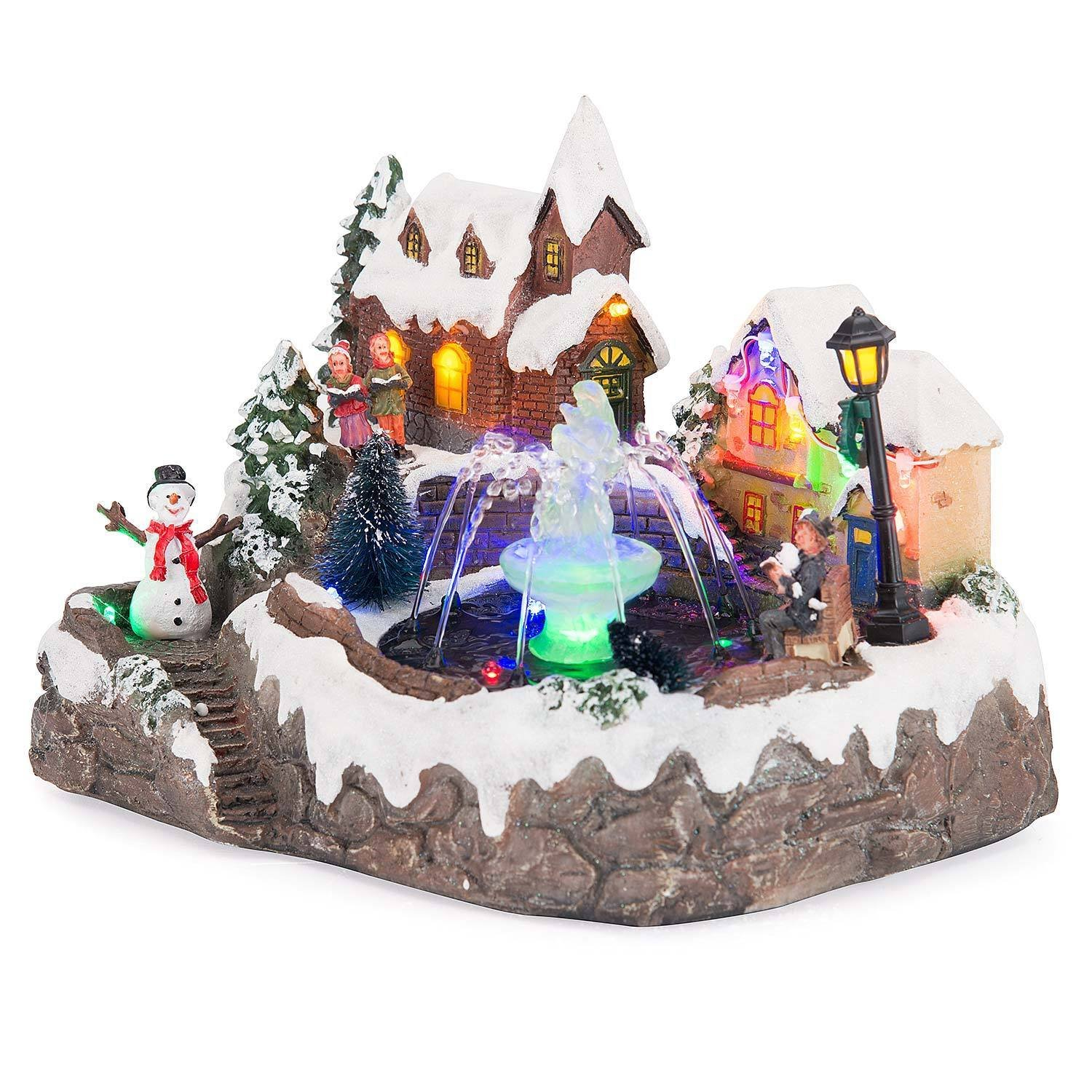 LED Christmas Water Fountain Musical Colour Changing Table Top Village Scene by Christow Decorations (Image #1)