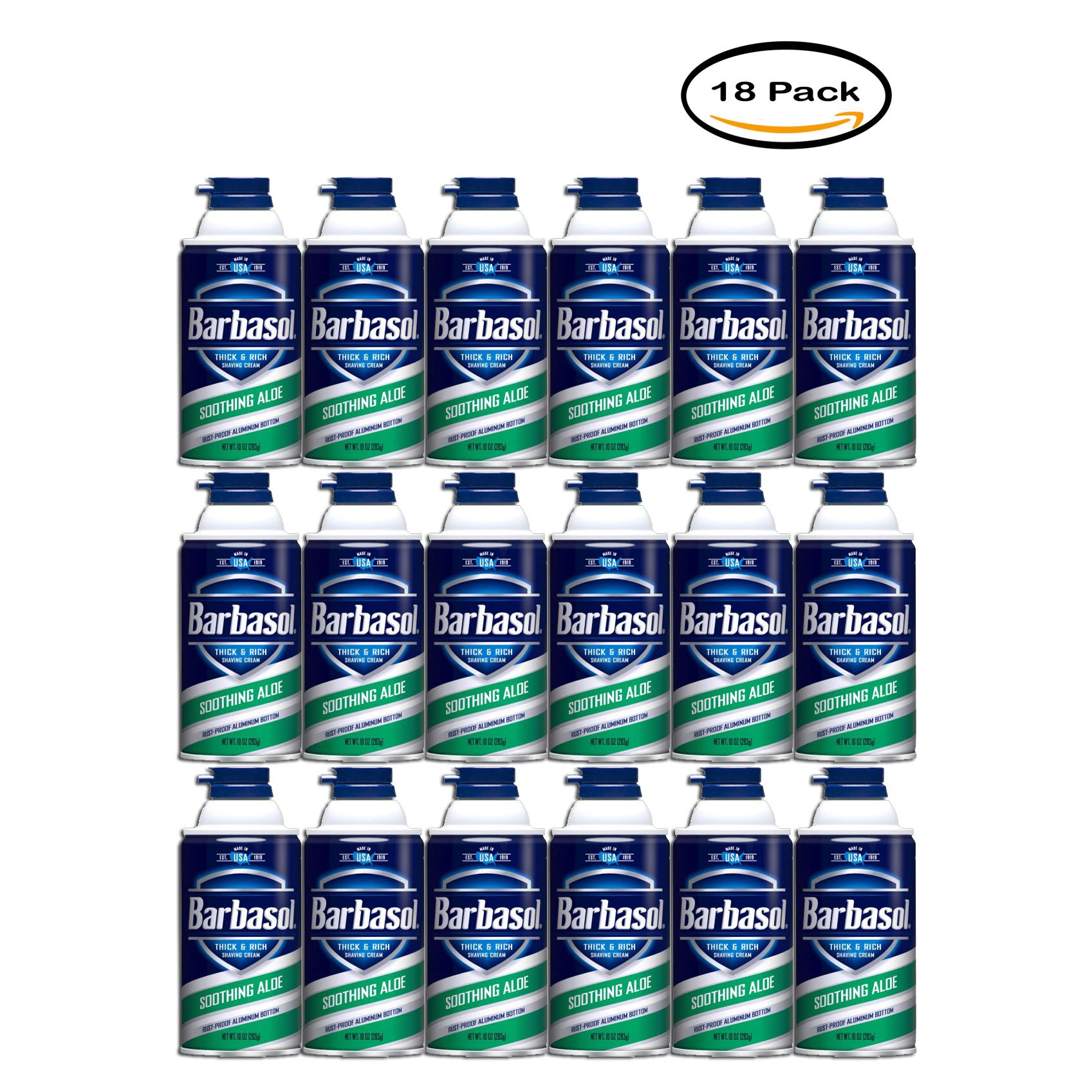 Pack of 18 - Barbasol Soothing Aloe Thick & Rich Shaving Cream for Men, 10 oz.