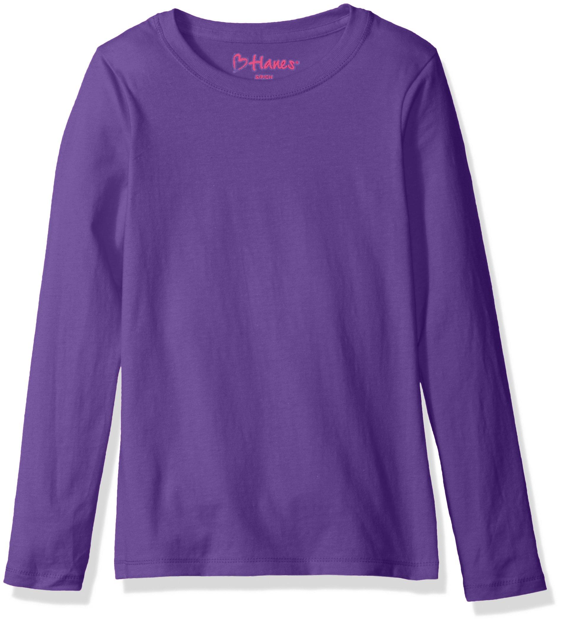 Hanes Big Girls' Comfortsoft Long Sleeve Tee, Purple Crush, M
