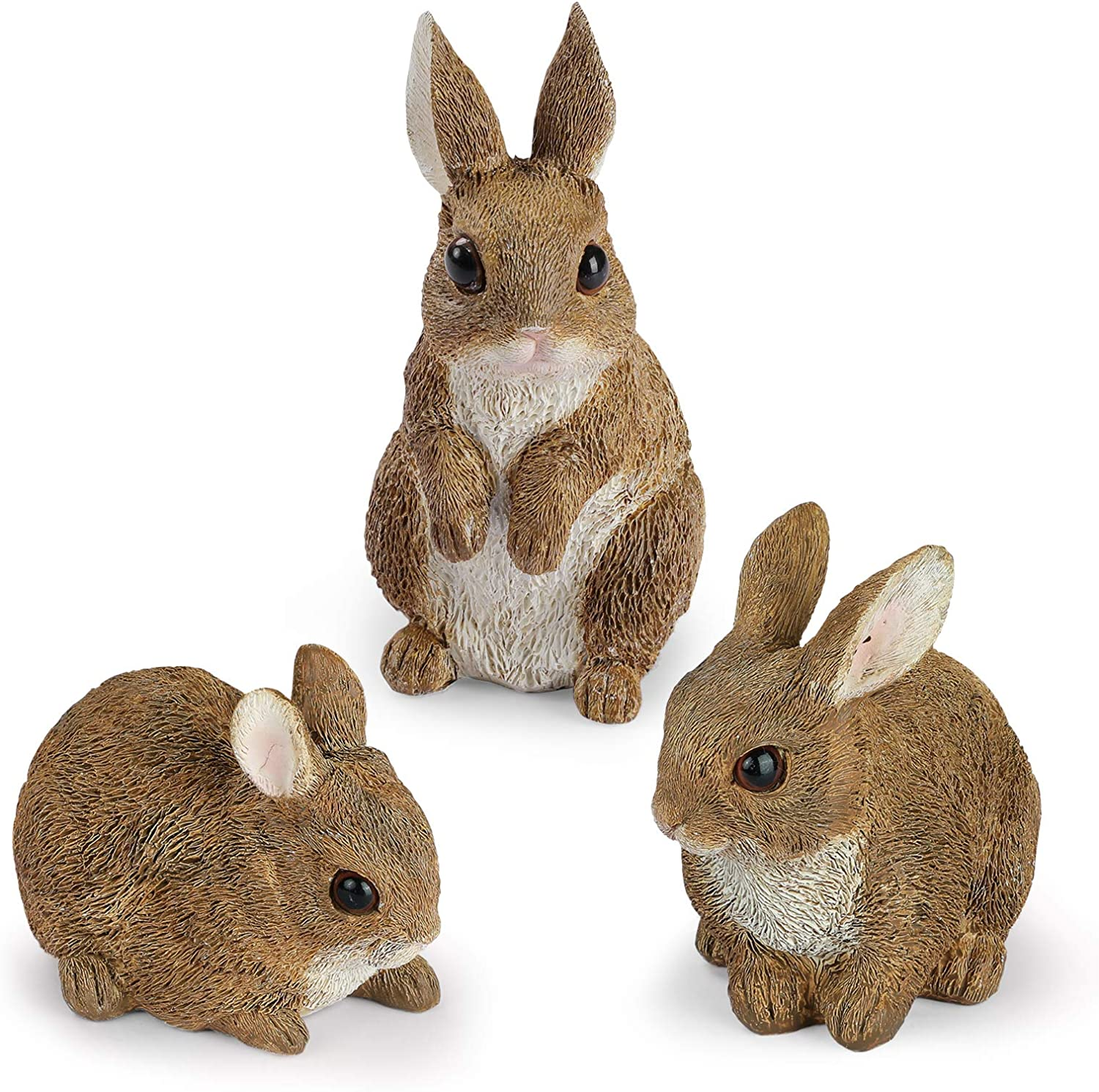Giftchy Bunny Garden Figurines Set of 3, Whimsical Rabbit Decorations for Outside, Resin Animals Statues, Spring Decor for Home, Dark Brown Finish 5.375