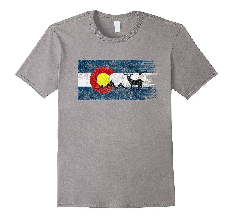 Colorado Wildlife Mountains. Vintage Retro T-Shirt-FL