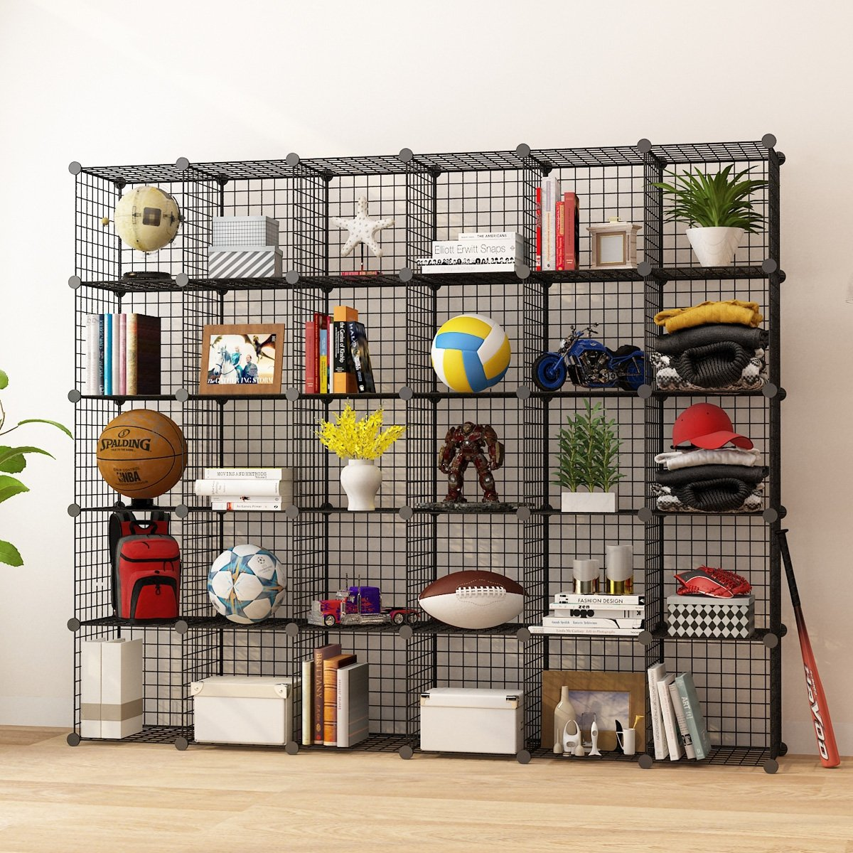 KOUSI Storage Cubes Wire Grid Modular Metal Cubbies Organizer Bookcases and Book Shelves Origami Multifunction Shelving Unit, Capacious & Customizable, Black, 30 Cubes