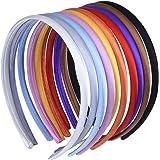 10 mm Bambina Fascia per Capelli in Plastica Rivestito in Raso Cerchietti Coperto di Nastro Accessorio dei Capelli, 10 Pezzi, Multicolore
