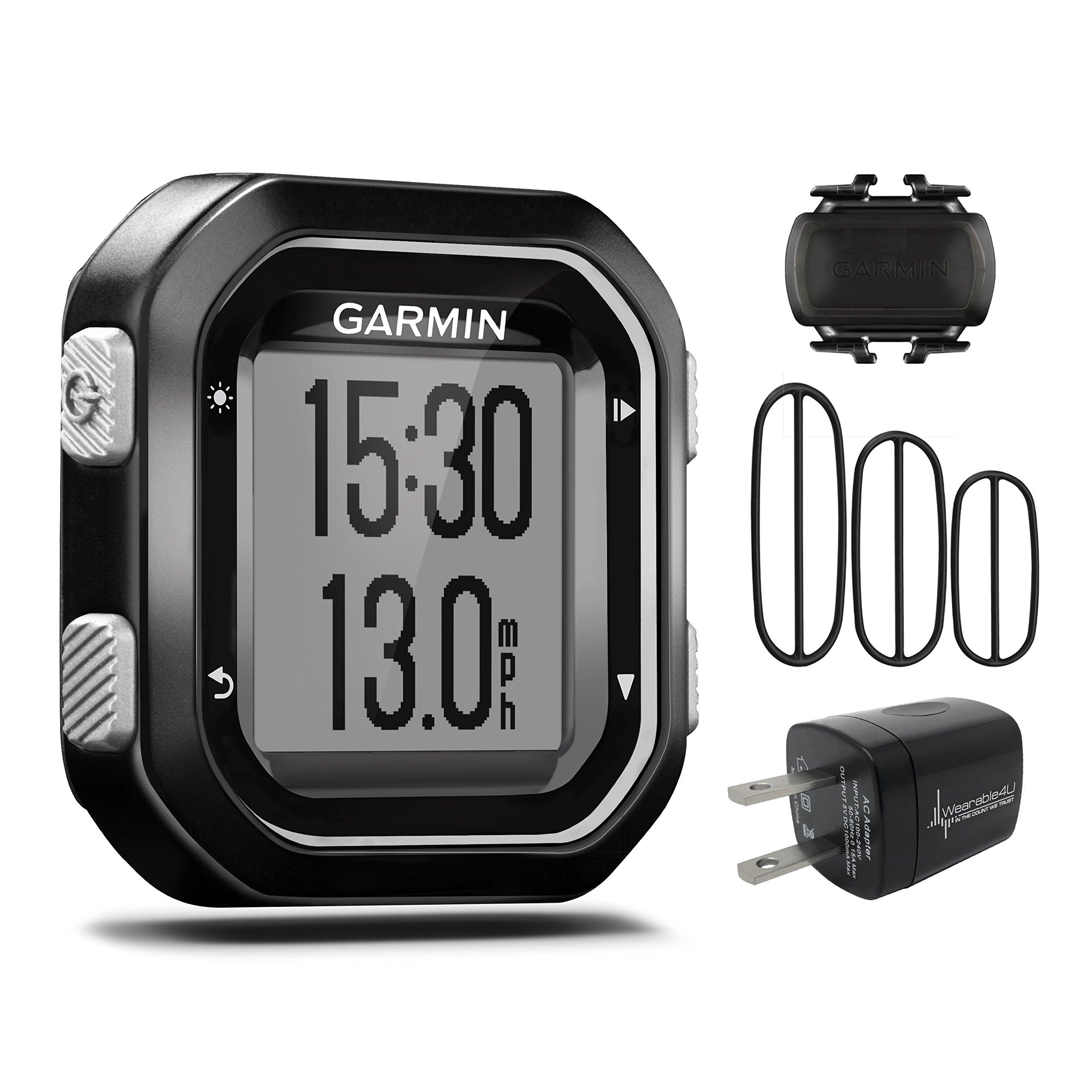 Garmin Edge 25 GPS Cycling Computer 010-03709-20 and Garmin Cadence Sensor 010-12102-00 with extra Wearable4U Wall Charging Adapter Bundle