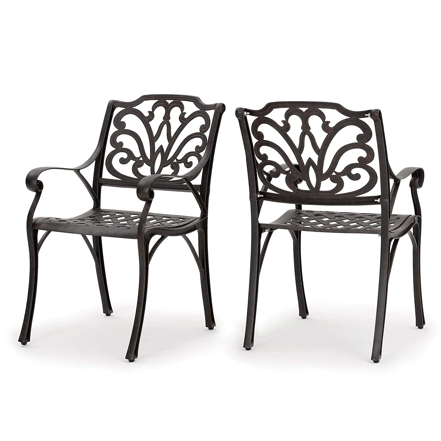 GDF Studio Calandra Cast Aluminum Outdoor Dining Chairs Set of 2 Perfect for Patio in Bronze