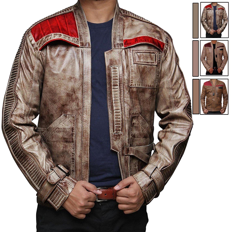 The Force Awakens Finn Jacket For Mens - Waxed Brown Poe Dameron Jacket (M) [RL-FINN-BW-M] by BlingSoul