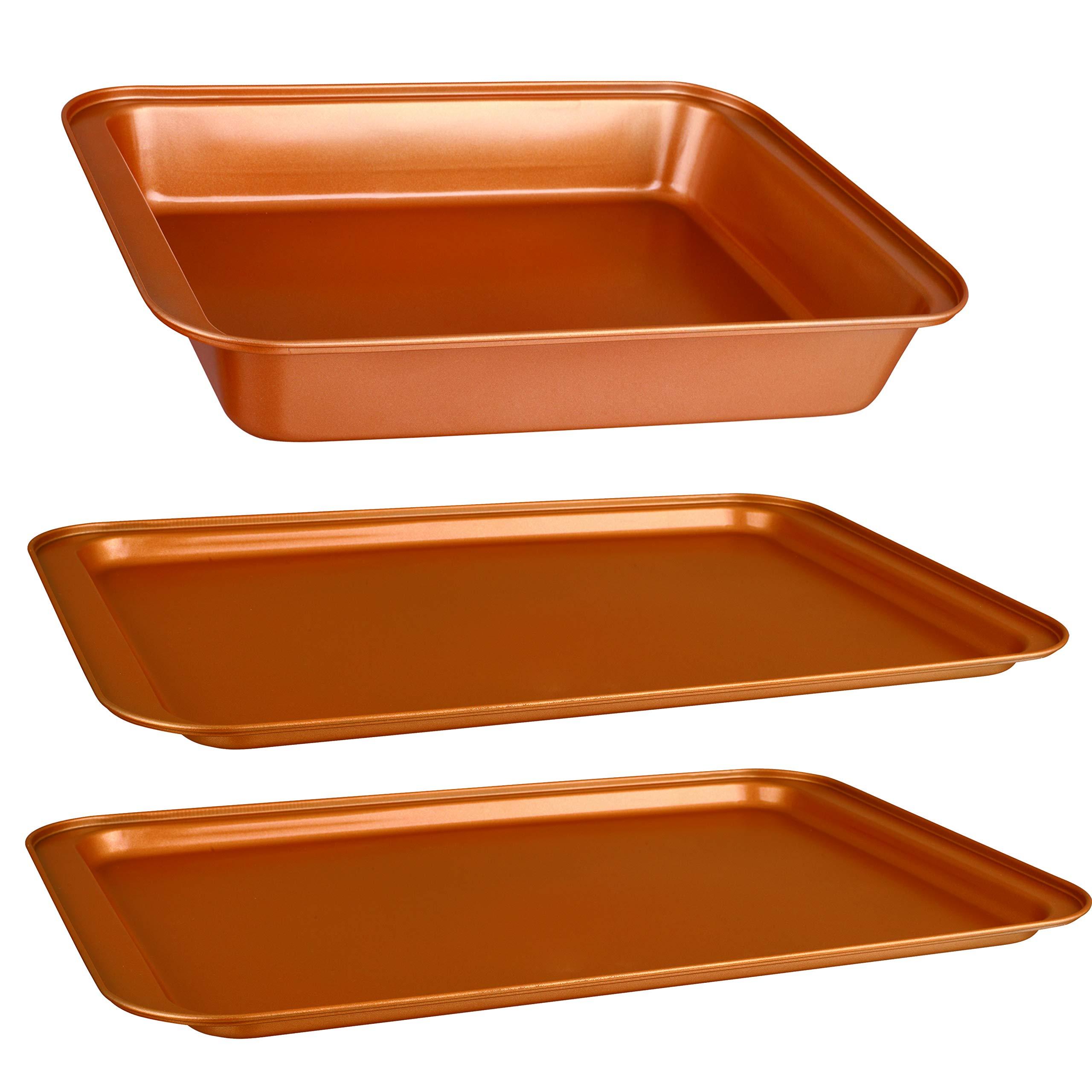 CopperKitchen Baking Pans - 3 pcs Toxic Free NONSTICK - Organic Environmental Friendly Premium Coating - Durable Quality - Rectangle Pan, Cookie Sheet - BAKEWARE SET (3) by CopperKitchenUSA (Image #4)