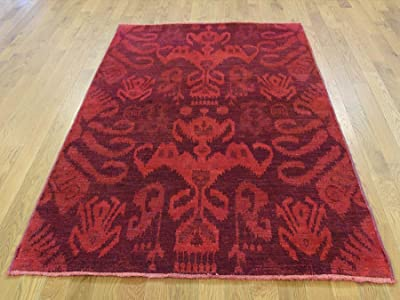 "4'1"" x6' Hand Knotted Red Cast Ikat Overdyed Pure Wool Oriental Rug G35404"