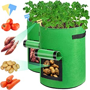 Sunrich Potato Grow Bags 10 Gallon Plant Grow Bags 2 Pack with Velcro Window, Handles, Access Flap Fabric Garden Growing Planter Bags for Planting Vegetables Tomato Fruits Flower