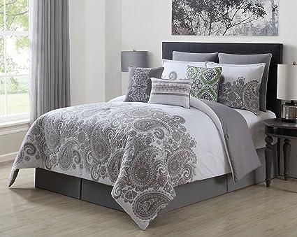 Amazon Com Kinglinen 13 Piece Mona Gray White 100 Cotton Bed In